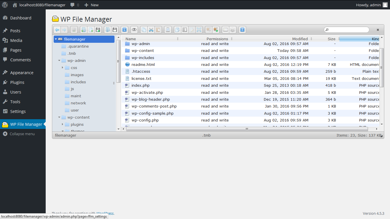WordPress File Manager Plugin