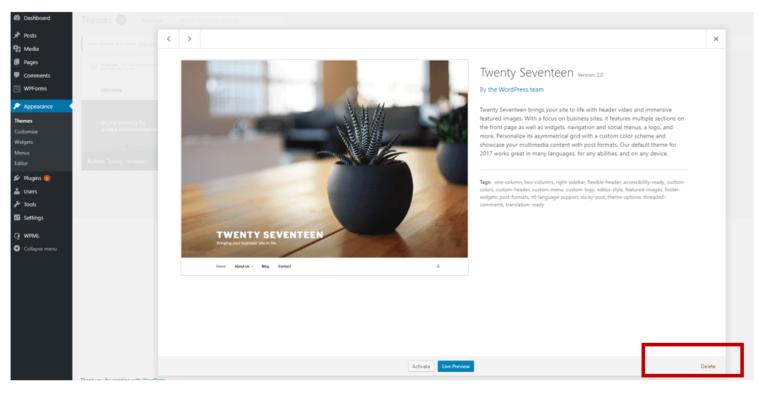 Why delete WordPress themes